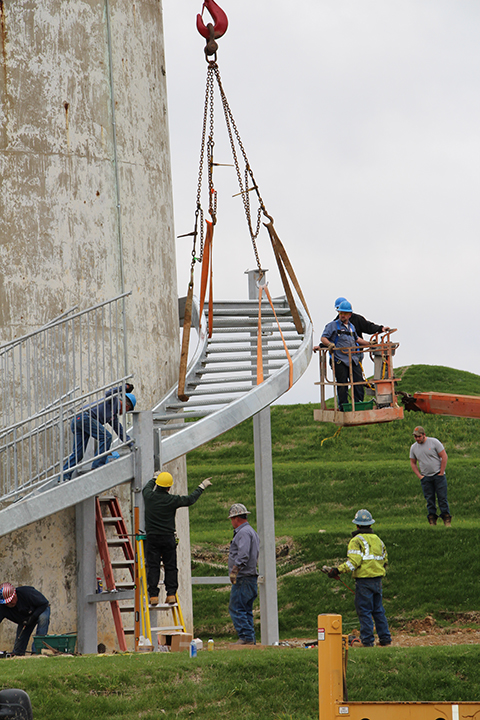 Stairs being installed at Rastin Observation Tower